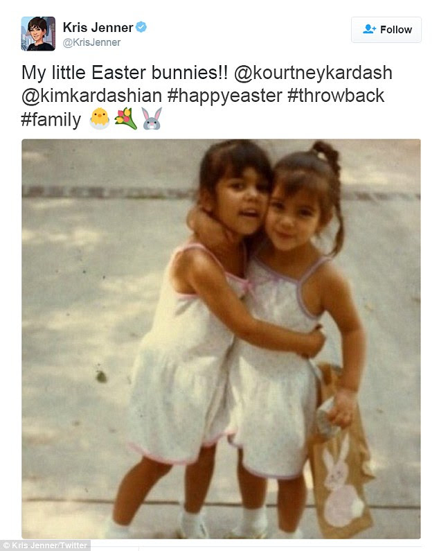 Flashback photo: Kris Jenner shared a photo to Instagram on Saturday which showed Kourtney (L) and Kim kardashian celebrating Easter as children