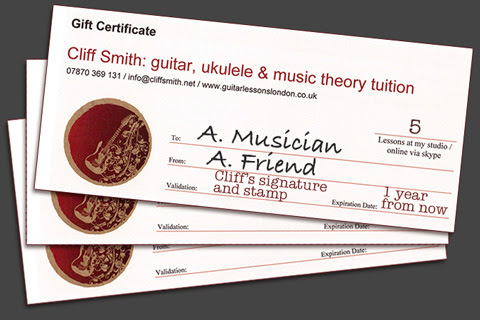 Guitar Gift Certificates - Ukulele Gift Certificates - Cliff Smith