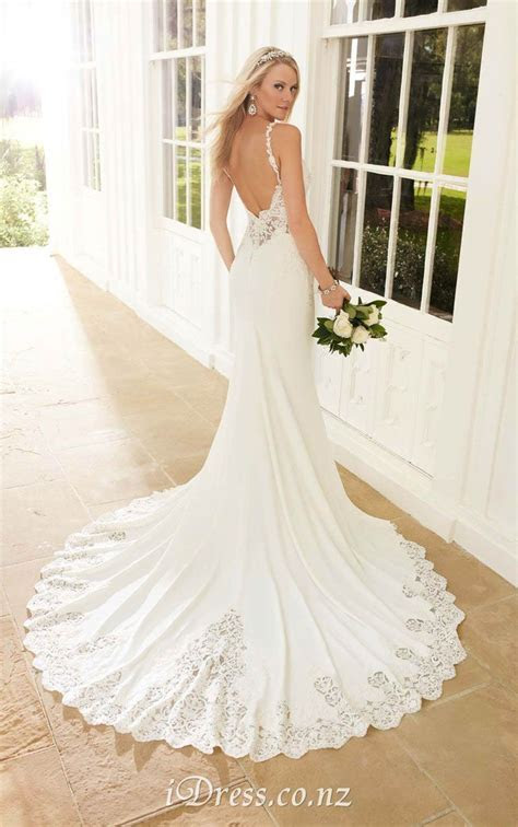 Spaghetti Straps Open Back Elegant Mermaid Chiffon Lace
