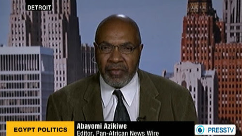Abayomi Azikiwe, editor of the Pan-African News Wire, appearing on the Press TV News Analysis program on November 23, 2012. Azikiwe discussed the political situation in the North African state of Egypt. by Pan-African News Wire File Photos
