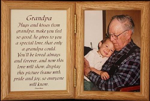 5x7 Hinged Grandpa Poem Oak Picture Photo Frame A
