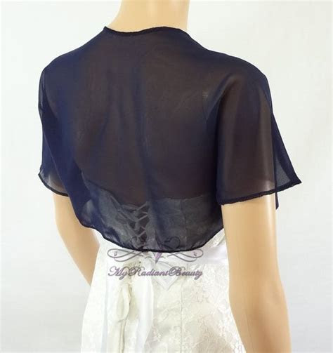 Navy Blue Chiffon Jacket, Bridal Bolero, Wedding Bolero