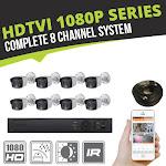 Complete 8 Channel HD-TVI 1080p Bullet Surveillance System