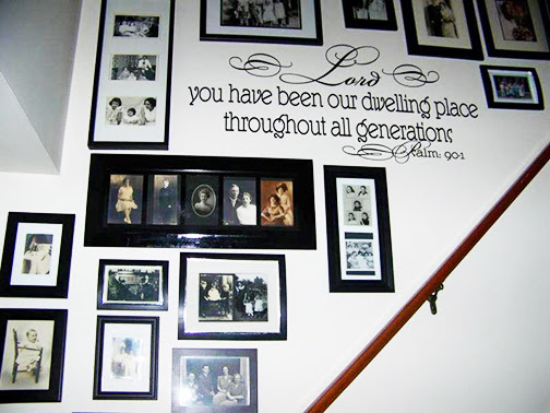 [Photo of a stairwell with wall stenciling of a Scripture verse]