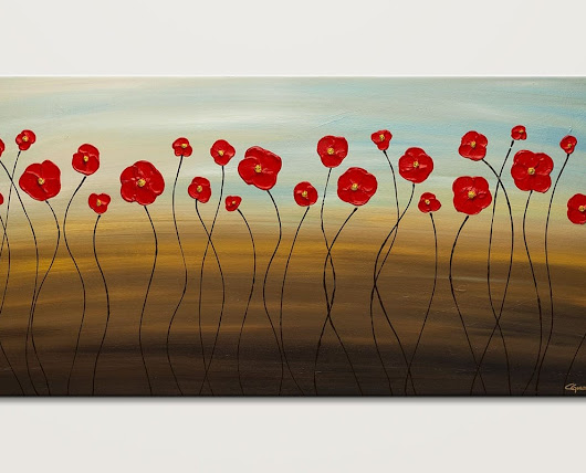 Hungarian Poppies Modern Contemporary Abstract Painting - Flowers by Carmen Guedez