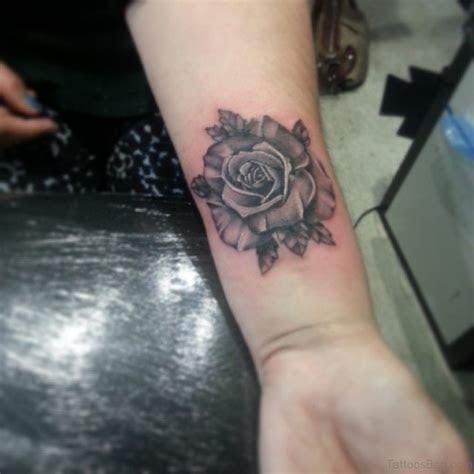 wrist colorful rose tattoo designs
