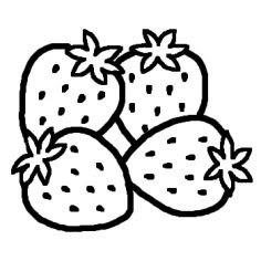 イチゴいちご白黒果物野菜の無料イラストミニカットクリップ