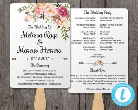 pink floral wedding program fan template bohemian floral