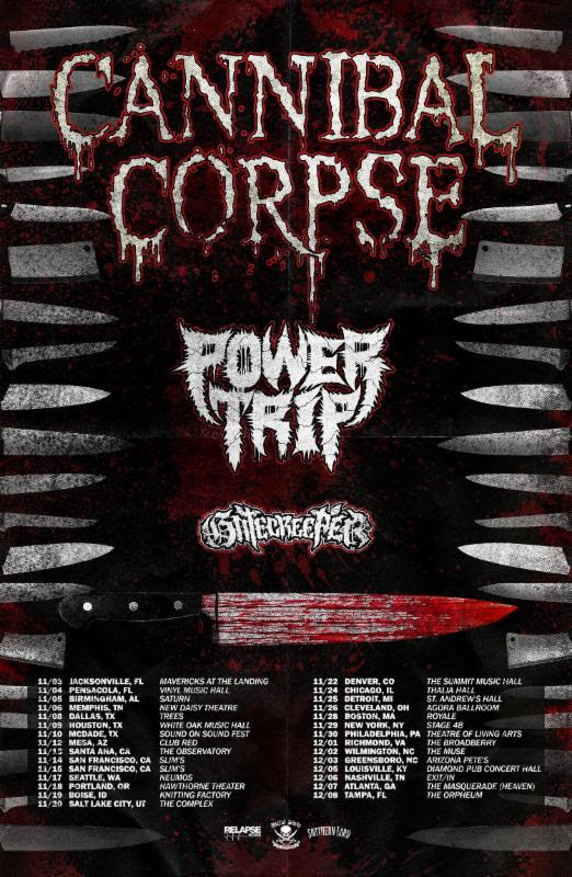 CANNIBAL CORPSE Announces US Tour With Power Trip And Gatecreeper; Band Completes Work On Upcoming Full-Length Due Out This Fall