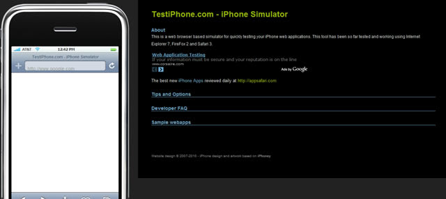 TestiPhone.com - Simulador de iPhone aplicaciones web basado