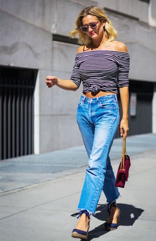 Le Fashion Blog Striped Off Shoulder Top Denim Navy Wedges Via Who What Wear