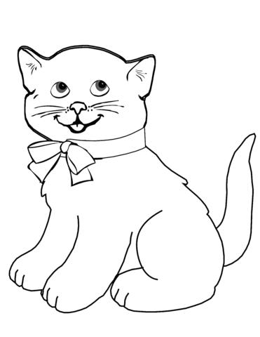Dibujo De Gatito De Dibujos Animados Para Colorear Dibujos Para