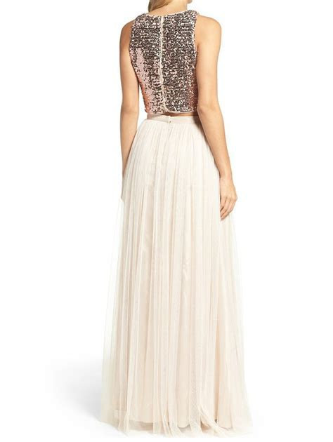 Two Piece Sparkly Ivory Long Bridesmaid Dress with Sequins Top