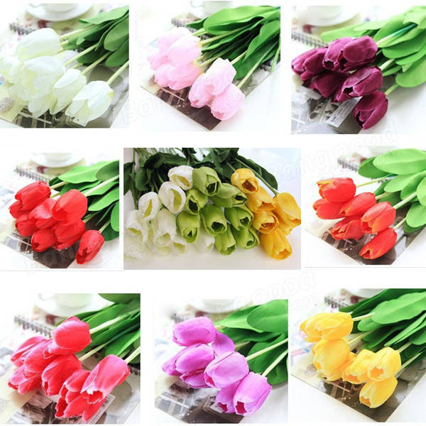 10 Bouquet Artificial Tulip Silk Flowers Home Party Decor  US$10.95