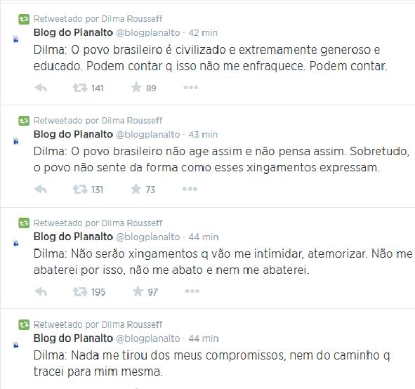 Dilma Rousseff, no Twitter, voltou a dizer que não se abateria com os xingamentos (Foto: Reprodução/Twitter)