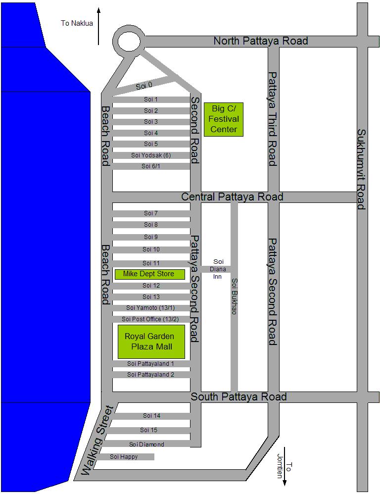Where to stay in Pattaya - Pattaya map and Pattaya's main streets