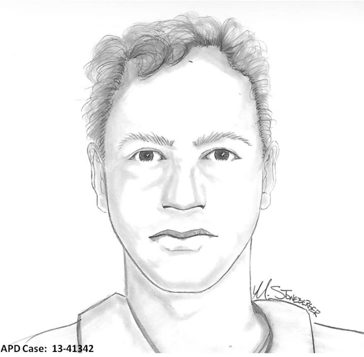 This artist's sketch provided by the Aurora Police Department shows a drawing of a suspect that authorities are offering a $10,000 reward for information that could help them find the man who reportedly tried to kidnap an 8-year-old girl from her bedroom in suburban Denver. Police say the girl screamed for help shortly after midnight Monday Oct. 28, 2013, and her father ran outside the family's Aurora home and found her in an alley. (AP Photo/Aurora Police Department)