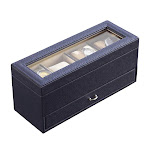 ORE Furniture YMW-1711 4.5 in. Leather Beige Lining Tempered Glass Jewelry Watch with A Drawer Display Case Blue