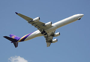 Airbus A340-600, a long-range four-engined wid...