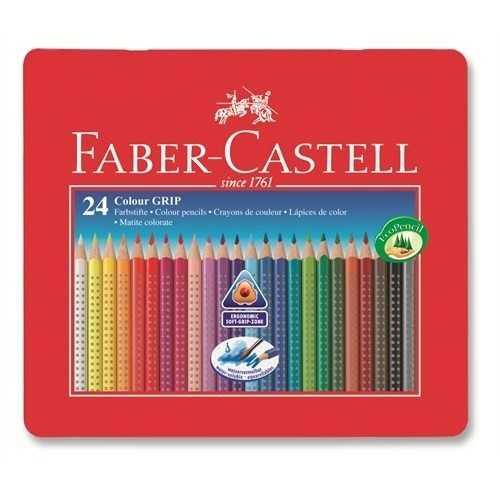 Faber Castell Grip 2001 Metal Kutu Boya Kalemi 24 Renk Kuru Boya
