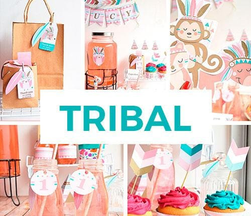 Kit imprimible para fiestas Tribal
