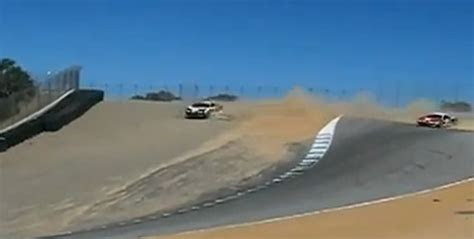 ferrari  italia crashes  dramatic fashion  laguna seca