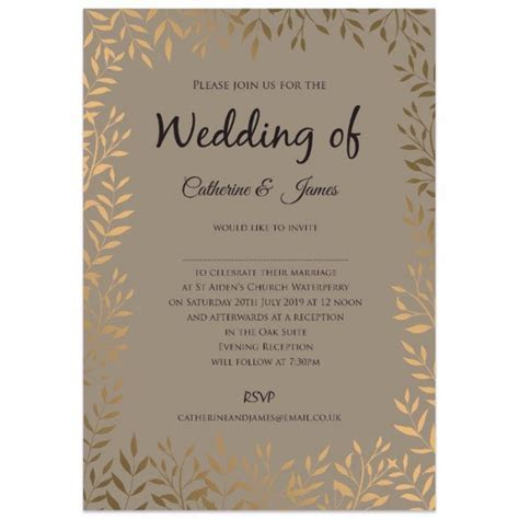 Gold Leaves Wedding Invitations   Paper Themes Wedding Invites