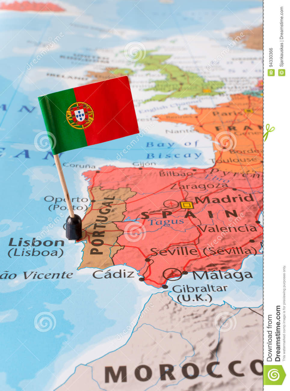 Portugal Map And Flag Travel Concept Stock Photo Image