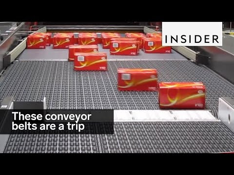 Omni-directional conveyor belts are fun to watch
