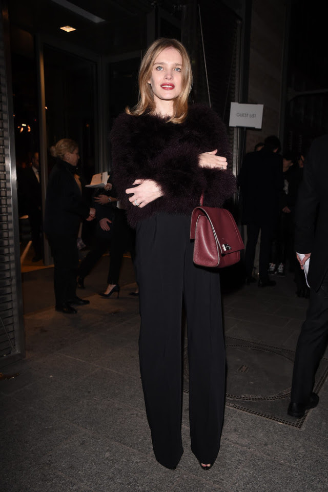black wide leg pants-furry jacket-all black-going out-office to out-night out-pfw street style-