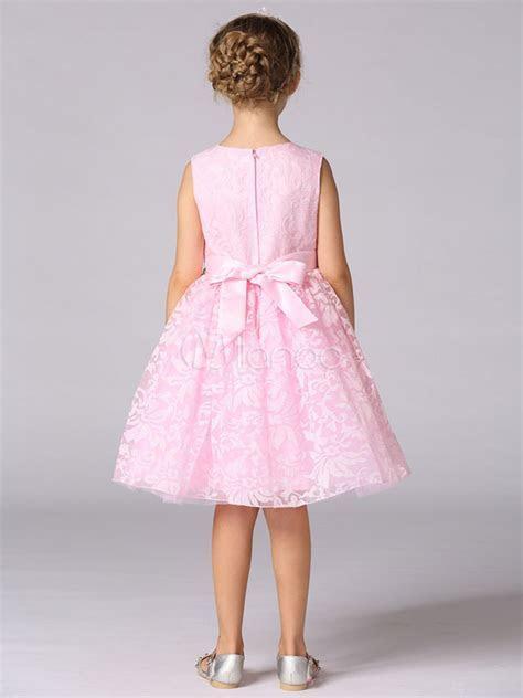Lace Flower Girl Dresses Pink Sleeveless Beading Sash
