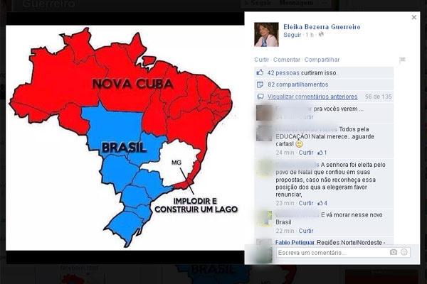 Eleika Bezerra sugere divisão do Brasil com uma nova Cuba.