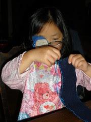 Olivia Sewing a Wool Felt Pencil Case
