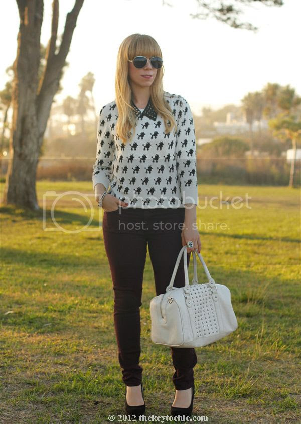 Bakers studded spike collar necklace, Rag & Bone wine skinny jeans, poodle print sweater, platform wedge pumps, Los Angeles fashion blog