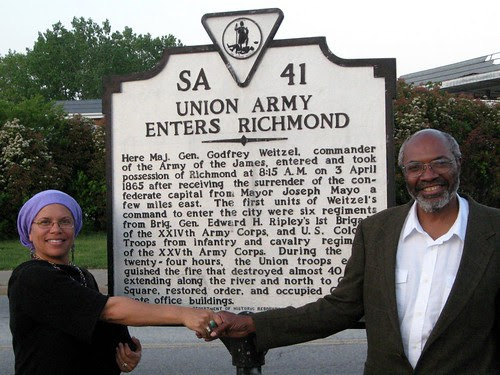 Abayomi Azikiwe, editor of the Pan-African News Wire, with Virginia historian and artist,  Ana Edwards, at the marker in recognition of the African troops who liberated Richmond from the confederacy in April 1865. (Photo: Phil Wilayto) by Pan-African News Wire File Photos