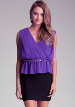 Bebe Zipper Waist Pleat Ruffle Top