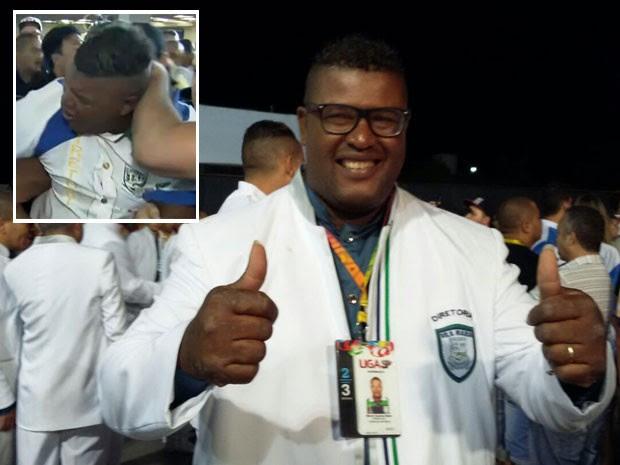 Márcio Queiroz Bispo participa do Desfile das Campeãs após ter sido detido na apuração (no detalhe) (Foto: Letícia Macedo/G1)