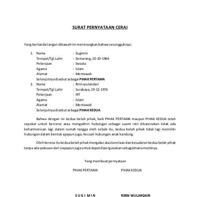 Contoh Surat Pernyataan Cerai Dari Rt Contoh Jul