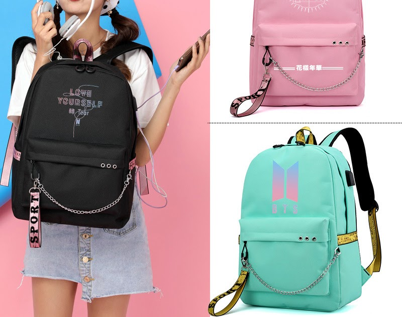 5d4906cc7e8 Kopen Goedkoop Bangtan Jongens Koreaanse BTS Afdrukken Rugzak USB Interface  Laptop Canvas Schooltas Voor Tiener Meisjes Fan Geschenken Tas Online | ...
