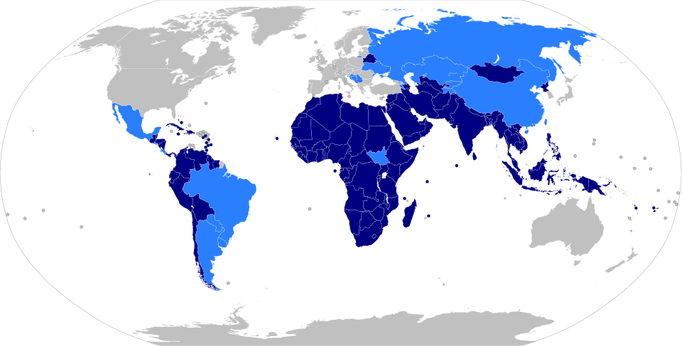 Member states of the Non-Aligned Movement (2012). Light blue states have observer status.