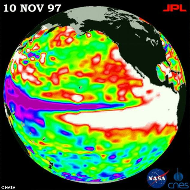 The scientists examined 20 climate models to simulate major rainfall reorganisation during extreme El Niño events. This satellite image shows the El Nino weather phenomena in 1997, represented by the the white area at the equator, which shows how the warm waters stretch from Peru to Alaska