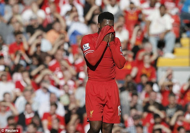 Off target: Daniel Sturridge show his anguish after missing a chance