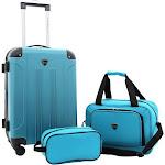 Travelers Club Luggage Chicago Plus 3PC Expandable Luggage Value Set, Teal