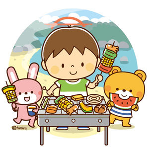 クリップアート河原でバーベキューをする子供と動物のイラスト 子供