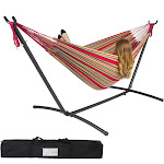 Best Choice Products Double Hammock With Space Saving Steel Stand Includes Portable Carrying Case, Red