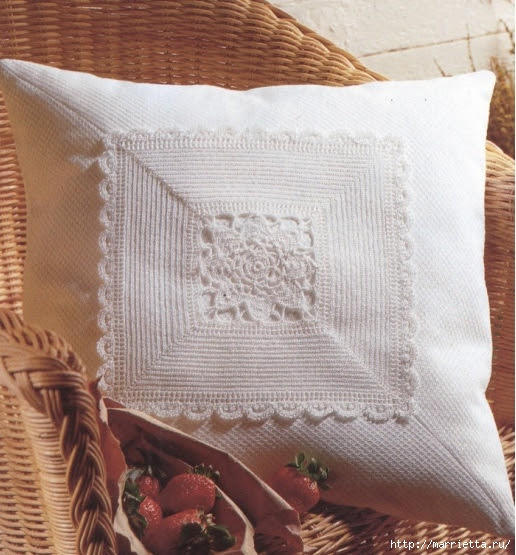 Crochet.  Decor pillowcases for pillows (3) (516x555, 215Kb)