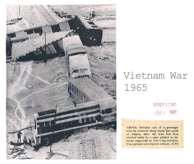 Saigon 1965 - Derailed Cars Train Wreck After Explosion