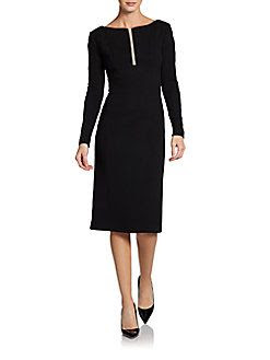Carolina Herrera Stretch Wool Sliver Dress
