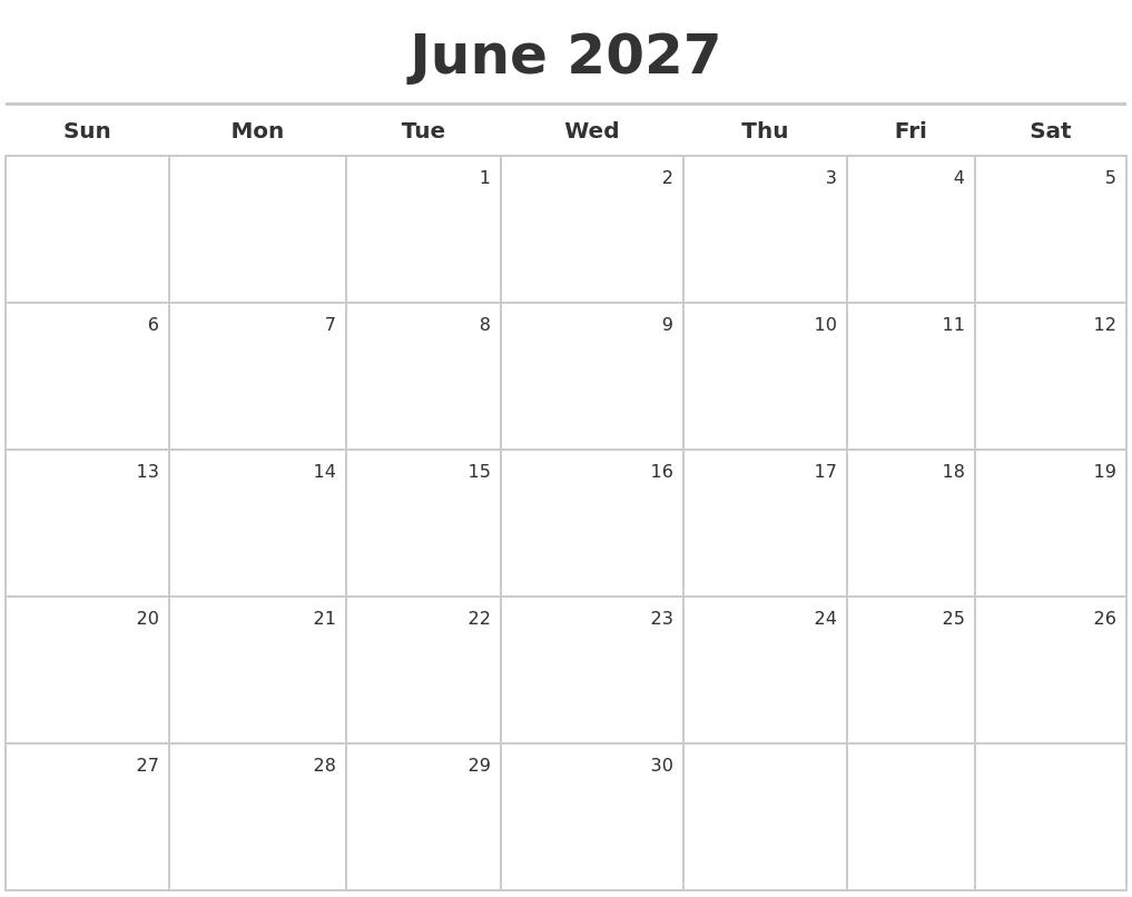 june 2027 calendar maker