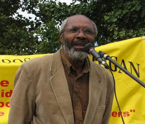 Abayomi Azikiwe, editor of the Pan-African News Wire, speaking in Clark Park on October 12, 2007 at a rally in solidarity with the immigrant rights movement in the United States. (Photo: Alan Pollock) by Pan-African News Wire File Photos